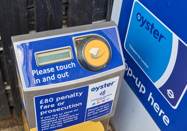 Oyster card terminal tube