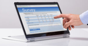 Man answering online survey